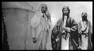 Chaim Weisman, the man who betrayed Faisal and the Arab nation, on the left.