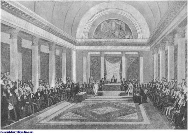 Napoleon at the meeting of the Jewish Sanhedrin, getting support for his campaign to betray Barras and take the throne of France.
