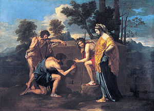 Exiles Seeking Sanctuary is a frequent theme of Poussin's art. Here the tomb says,