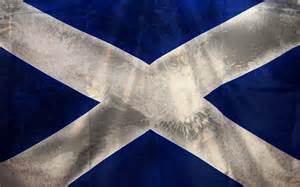 The Saltire Flag of Scotland. The light blue color is the symbol of the Virgin Mary in heraldry.