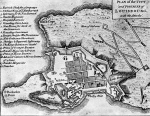 This map shows the old French fort called Fort St. Louis with English names written over it.