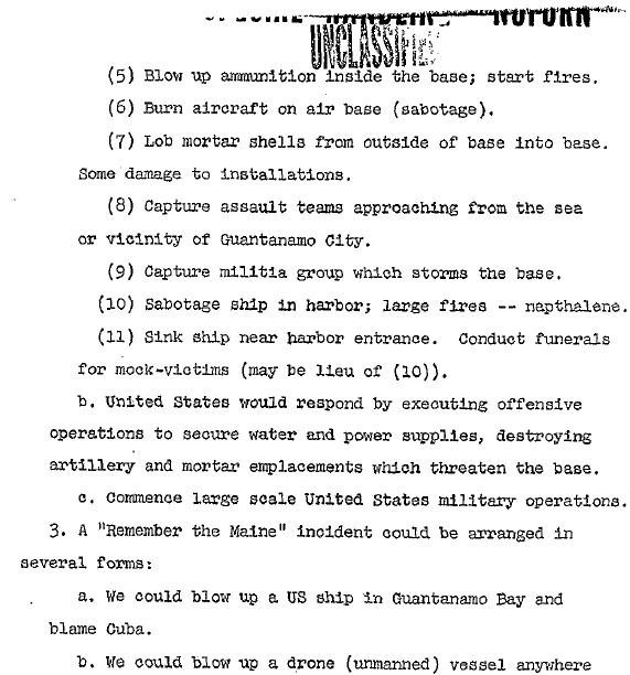 Hoax war events are described in this memo obtained from the U.S. government. This is a government memo obtained through the Freedom of Information Act.