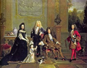 The duke of Brittany with his father Louis, Duke of Burgundy, his grandfather Louis, Le Grand Dauphin and his great-grandfather King Louis XIV in 1709. The future Louis XV, not yet born, is not on the painting. Formerly attributed to Nicolas de Largillière - https://www.altesses.eu/max.php?image=e76f80bdc8 Note - a composite portrait of the Bourbon succession since Henri IV (with Louis XIII he is seen as a bust) with copies of portraits made at different dates. The female figure is Louis XV's governess, the Duchesse de Ventadour, who commissioned the work - not Mme de Maintenon as used to be claimed. The child is the duc de Bretagne, 2 or 3 years old. The future Louis XV is not yet born at the time this painting is claimed to be made. However, if the painting is from 1715-1720, then the child is Louis XV.