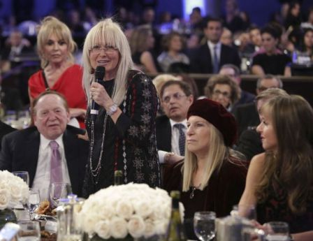 BEVERLY HILLS, CA - NOVEMBER 06: Sheldon Adelson, Miriam Adelson and singer Barbra Streisand attends the Friends Of The Israel Defense Forces 2014 Western Region Gala at The Beverly Hilton Hotel on November 6, 2014 in Beverly Hills, California. (Photo by Tiffany Rose/WireImage)