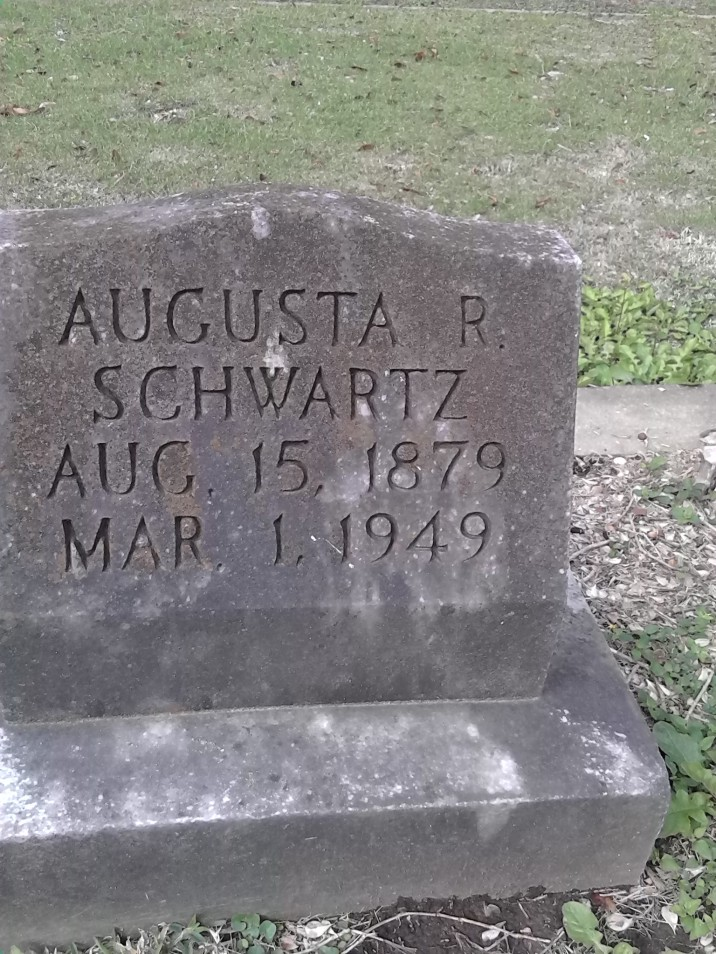 "Source of the name ""August"" in the Nicholls' family. The last name Schwartz indicates that this is the negro branch of the Jewish Family and that this is one of the Mouton family, since it's in Lafayette, La."